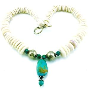 Jewelry - VINTAGE TURQUOISE, PUKA & STERLING NECKLACE 925